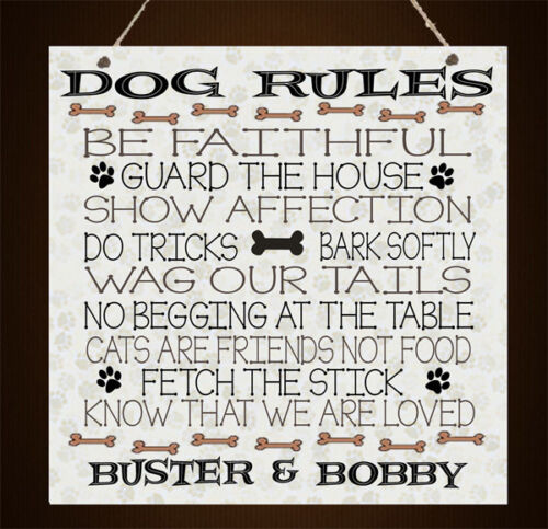 Personalised Pet Rules Plaque Dog Lover Family Birthday Home Gift Present