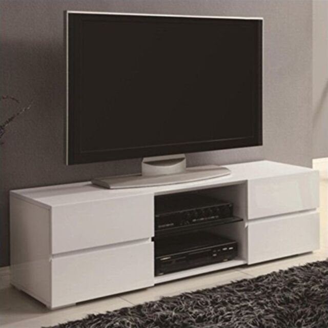 Coaster High Gloss White TV Stand With Glass Shelf   700825 | EBay