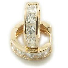 18k Yellow Gold GF huggies hoop earrings Swarovski elements Crystal CZs Womens