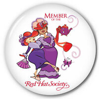 S13 100 Red Hat Society 3 Celluloid Pin Back Button Official Licensed Product