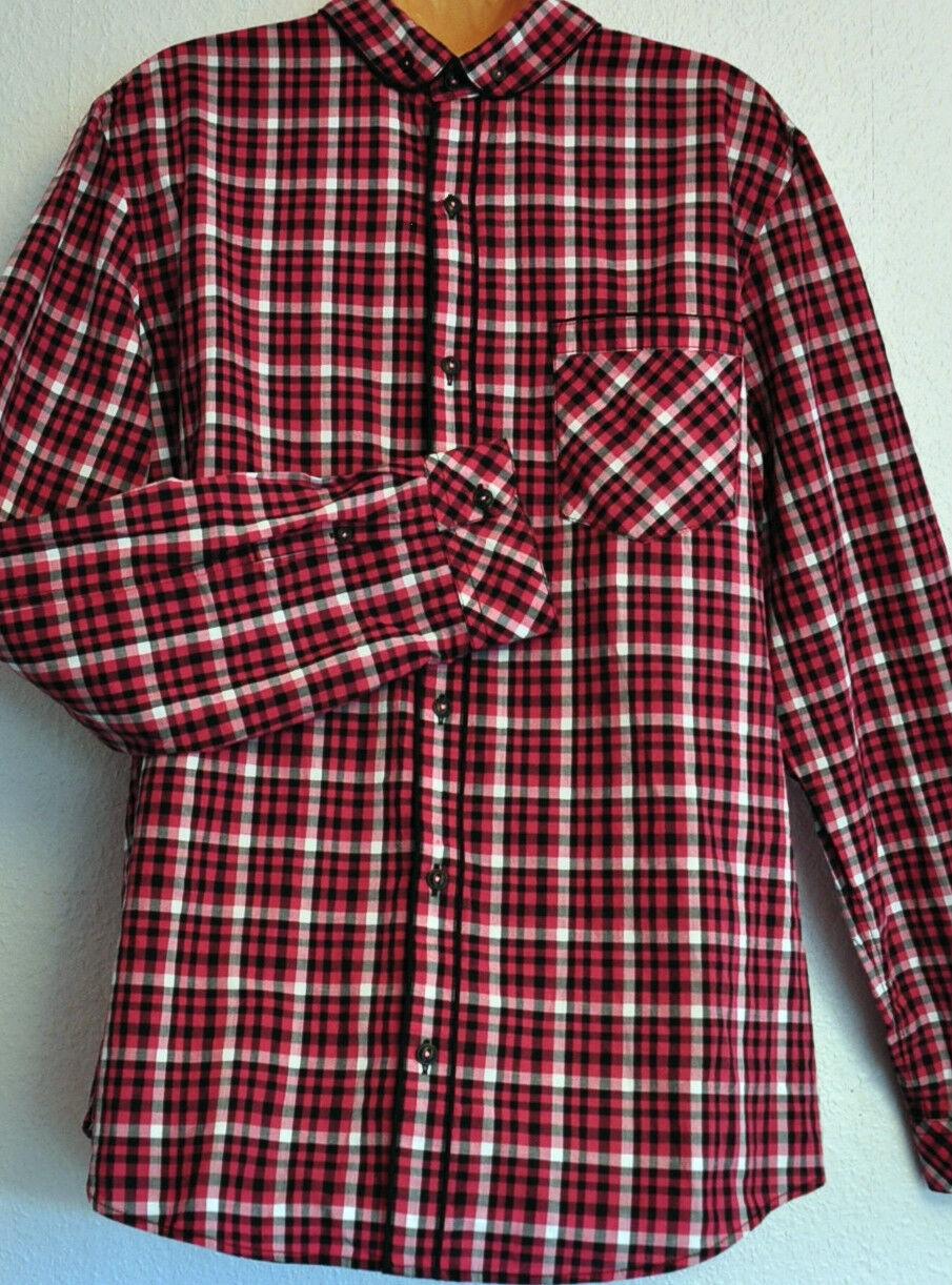 Hommes Prochain plus mince Fit rose noir blanc vérifié chemise chemise chemise a été £ 32 5d7f24