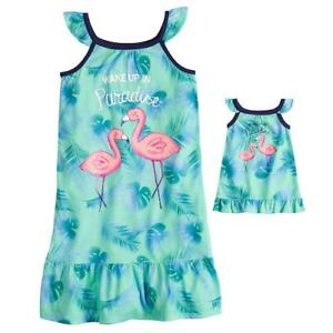 NWT Girls Flamingo Nightgown Matching Doll Gown Fits American Girl ... c0ea60be8