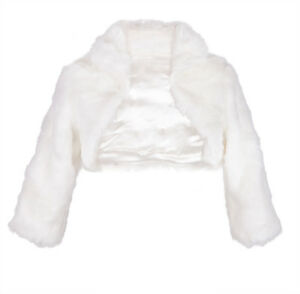 Details Sur Faux Fur 3 4 Long Manche Bridal Shrug Wedding Bolero Capelet Coat Cape Jacket Afficher Le Titre D Origine