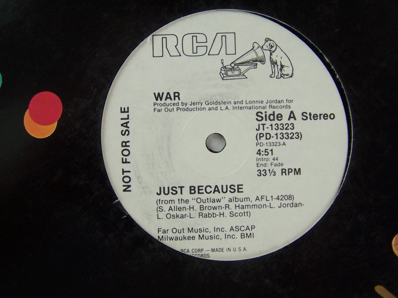 War - Just Because Vinyl Single Record PROMO JT-13323