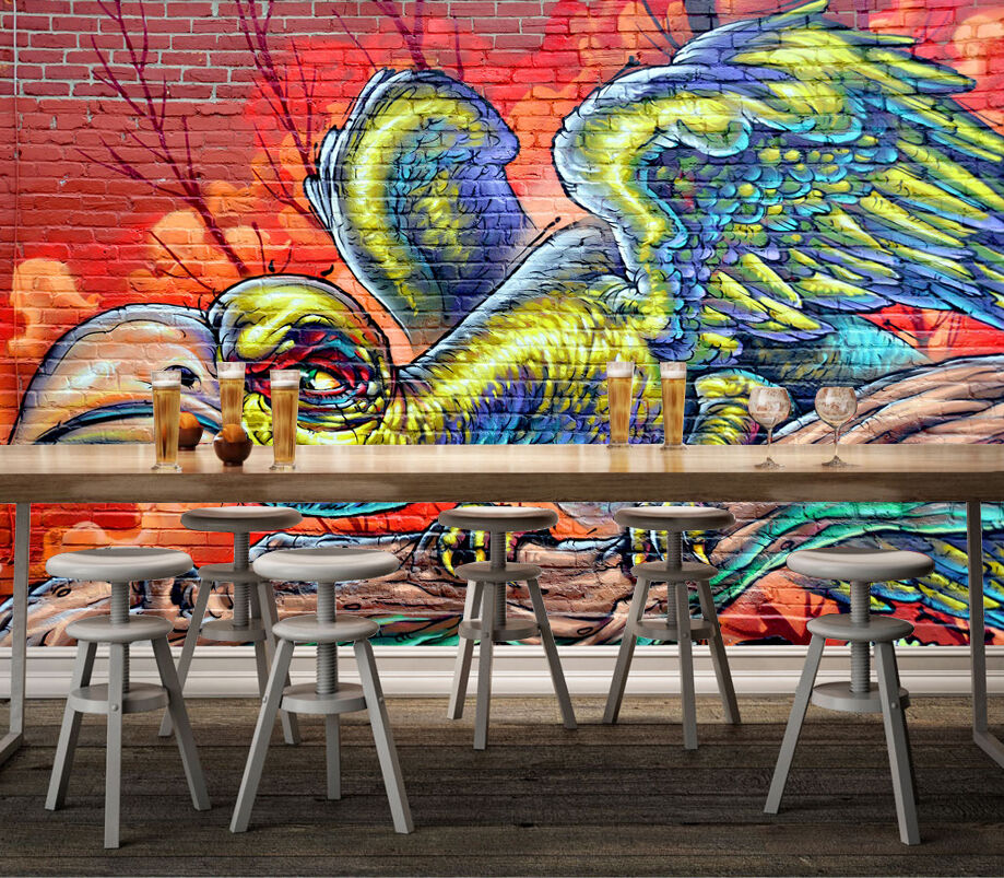 3D Big Bird Graffiti 444 Wall Paper Wall Print Decal Wall Deco Indoor Wall