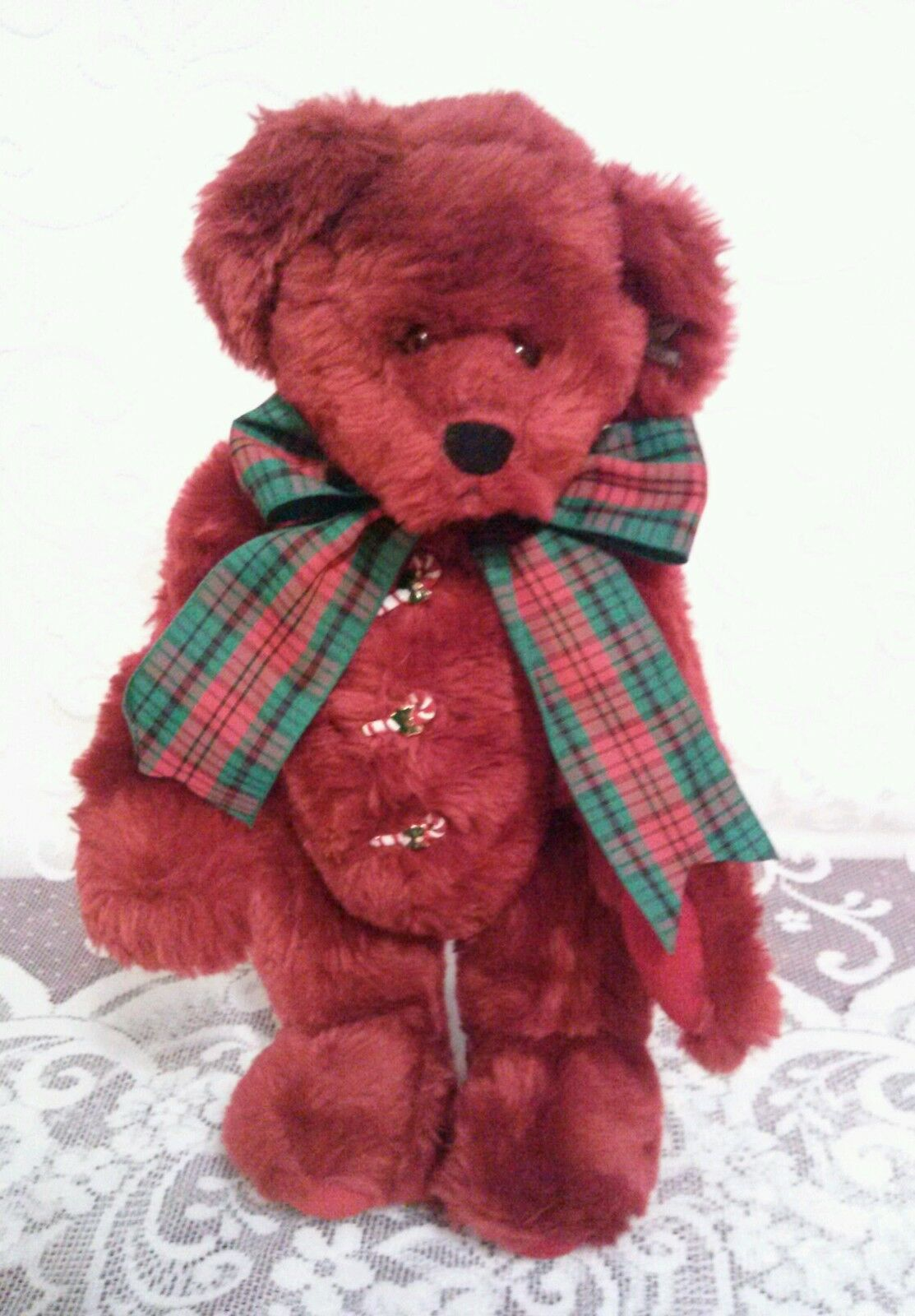 Annette Funicello Rosie Christmas Bear Retirosso Candy Cane Buttons, Plus Stand