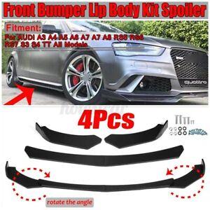 4PCS-Matte-Black-Front-Bumper-Lip-For-AUDI-A3-S3-A4-S4-A5-S5-RS5-A6-A7-A8-R8-TT