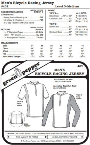 Pattern Only Men/'s Bicycle Racing Jersey Shirt #402 Sewing Pattern gp402