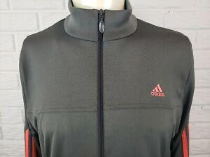 Adidas-Mens-Zip-Up-Jacket-Size-XL-Grey-Orange-Stripes-Pockets-Long-Sleeves