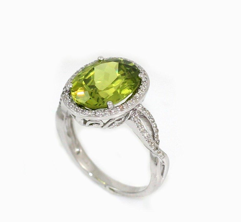 New Solid 14K White gold Peridot Diamond Halo Ring Various Sizes