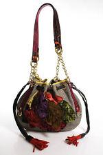 Etro Multi-Colored Glen Plaid Leaf Applique Tassle Trim Shoulder Handbag