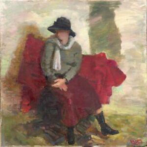 Russischer-Realist-Expressionist-Ol-Leinwand-034-Maedchen-mit-Hut-034-100x100-cm