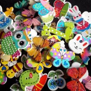 50Pcs//Lot Wooden Mixed Bulk 2 Holes Animal Sewing Buttons Scrapbooking DIY Craft