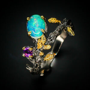 Vintage-Solid-Opal-Art-deco-Natural-Opal-925-Sterling-Silver-Ring-RVS270