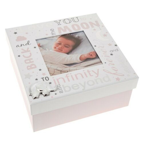 Pink or Blue Love You To The Moon And Back Baby Keepsake Box With Photo Holder