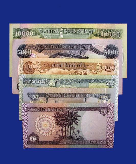 Iraqi Dinar Banknotes Circ 16 800 10k 5k 1k 500 250