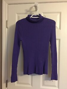 8f88b0729a Image is loading Jeanne-Pierre-Sweater-Purple-Turtleneck-Cotton-Cable-Knit-
