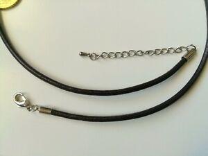 cadena extensión Cordón cuero o piel auténtica 2 mm marrón claro 44 cm collar