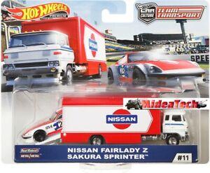 Hot-Wheels-2019-Team-Transport-Nissan-Fairlady-Z-Sakura-Sprinter-1-64-Diecast