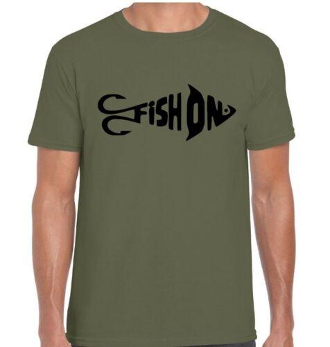 "ORIGINAL /""FISH ON/"" T-Shirt  Fishing//Angling//Carp//Korda//Daiwa//Shimano//Trakker"