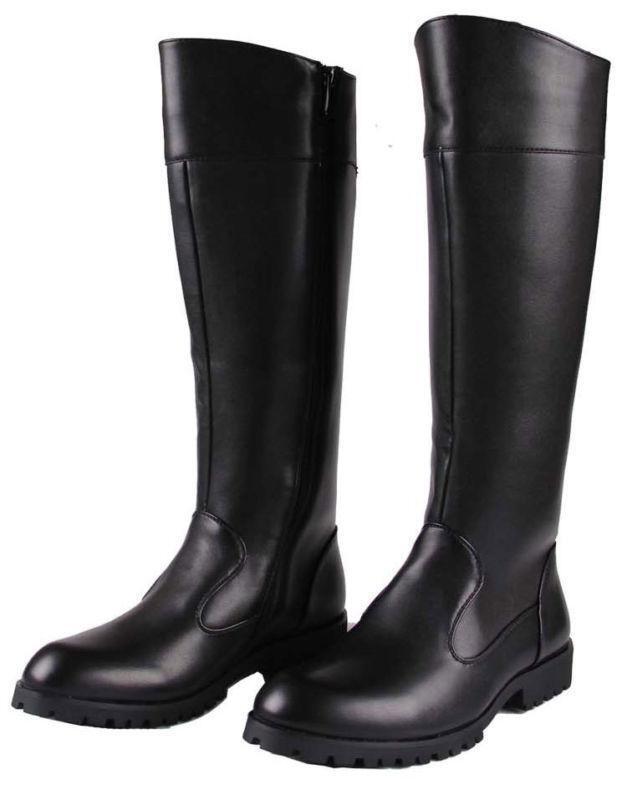 Para hombres Cuero Sintético Cremallera Rodilla Alto Zapatos botas de montar militar combate Largas Lo último