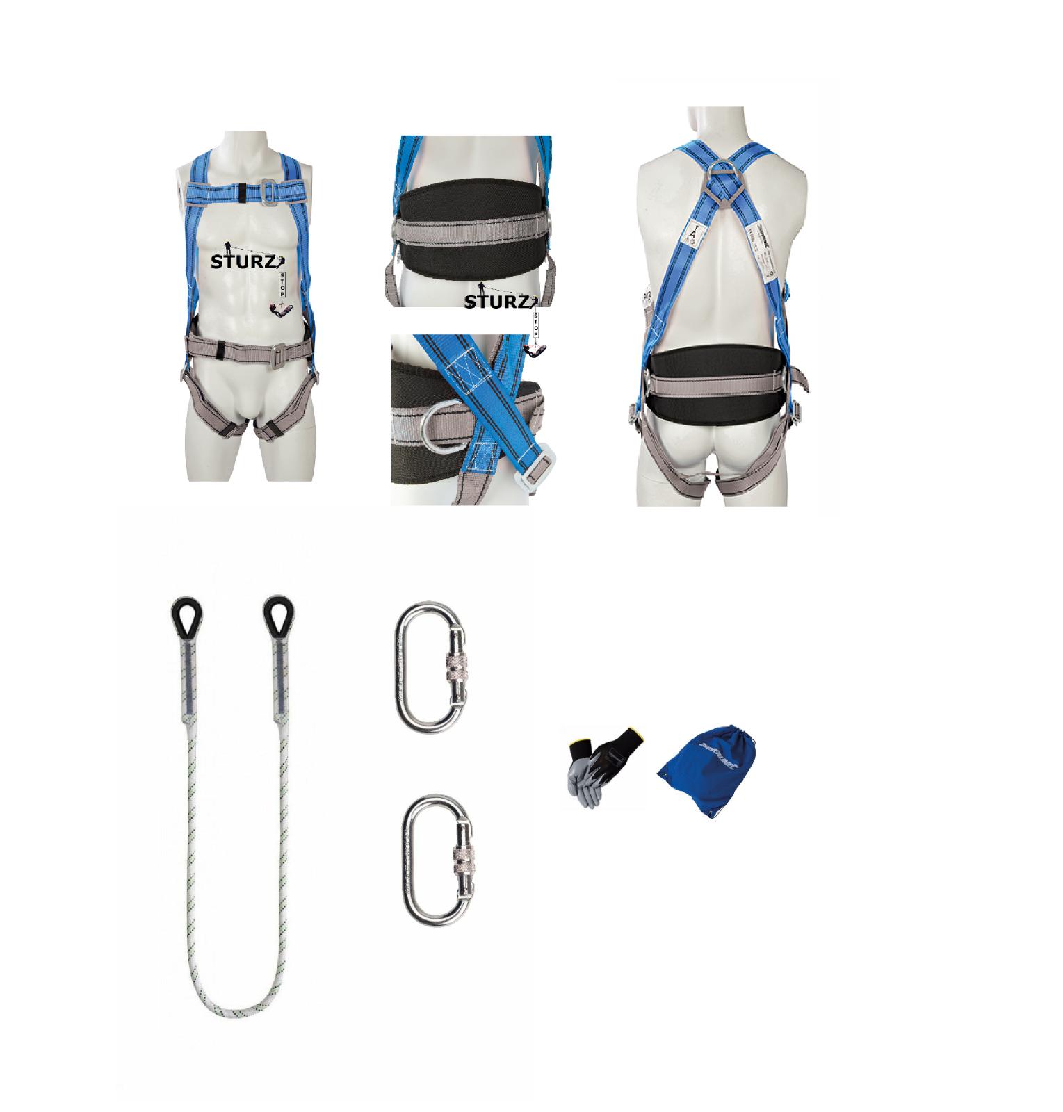 Profi SET Baumpflege Fallschutz Fallgurt Sicherheitsgurt 2m Seil Werkzeughalter