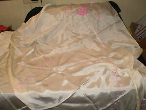 Image Is Loading Silk Cream Colored Table Cloth Pink Flowers And