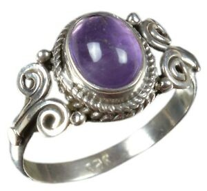 Handmade-925-Solid-Sterling-Silver-Ring-Natural-Amethyst-Stone-US-Size-7-5-R3172