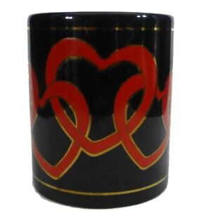 Black-Coffee-Mug-Red-Open-Linked-Hearts-10-Oz-1996-Tea-Cup-Cocoa-Valentine-039-s-Day