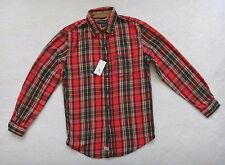 US POLO ASSN Red Orange Plaid Shirt Men's Long Sleeve Casual Size S