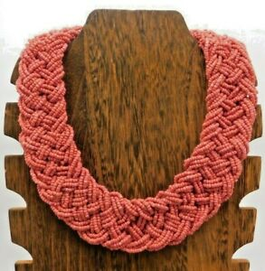 """Vintage Multi Strand Layer Pink Color Silver Tone Braided Seed Bead 18"""" Necklace"""