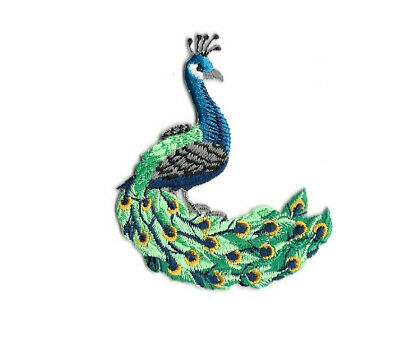 Full Peacock Bird Iron on Applique//Embroidered Patch Facing Right
