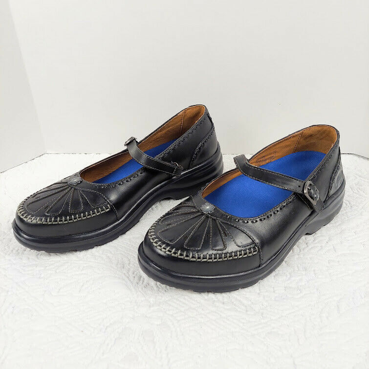 Dr Comfort Paradise 2110 Black Leather Diabetic Mary Jane Shoes Womens 9.5 W