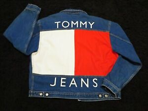 Tommy-Hilfiger-Jean-Jacket-Vintage-Denim-Giant-Flag-Logo-Mens-Large-Coat