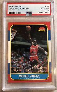 1986 Fleer Basketball Michael Jordan ROOKIE RC #57 PSA 6  EX/MT