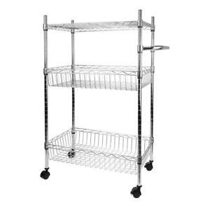 3-Tier Kitchen Cart Storage Shelves Rack Organizer With Wheels