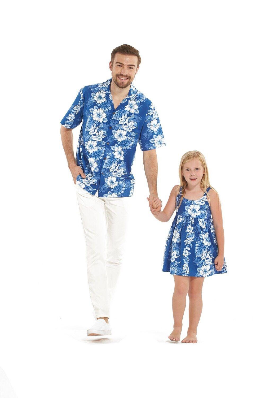 Made in Hawaii Father Daughter Matching Luau Dance E Dress Shirt Blue White Flor
