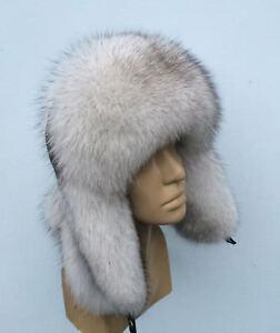 Saga Blue Fox Fur Hat Leather Top Trapper Ushanka 753923291016  445e0b196da6