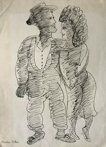 Drawing by Manolo Vidal. Untitled, ca 1956. Ink on cardboard.