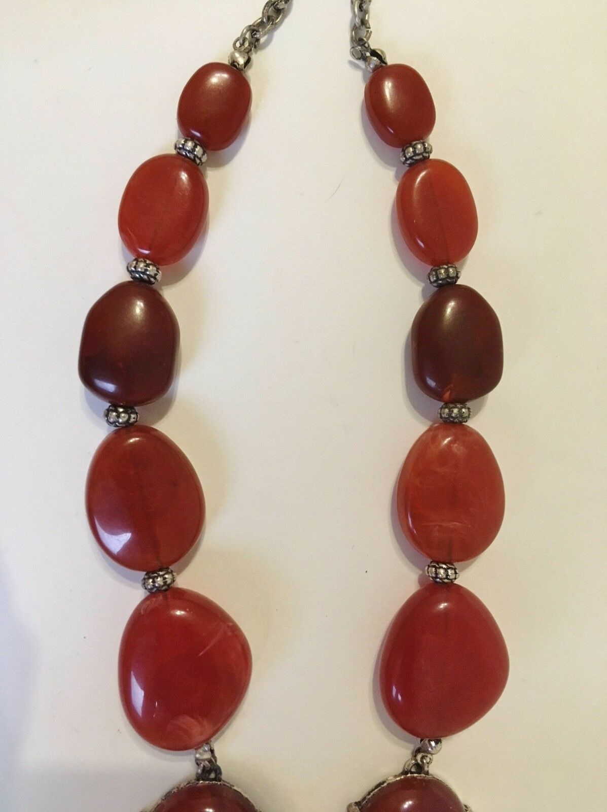 orange shell and rust coral Semi-precious stone necklace and earrings set made of turquoise jasper