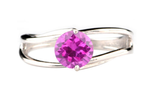1.40Ct 925 Sterling Silver Round Shape Natural Pink Tourmaline Engagement Ring