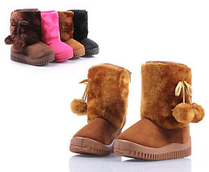 Camel Faux Suede Faux Fur Cute Booties Toddlers Kids Girls Winter Boots Size 12