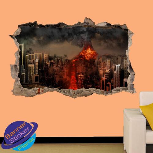 VOLCANO ERUPTION DISASTER POSTER WALL STICKER 3D ART ROOM DECOR DECAL MURAL ZS9