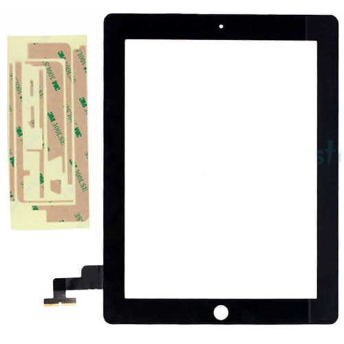 Compatible Front Panel Touch Screen Glass Digitizer Adhesive for iPad 2 Black