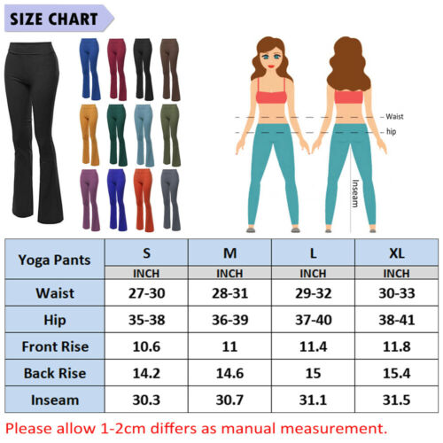 Women High Waist Yoga Pants Flared Wide Leg Bootcut Loose Casual Sports Trousers