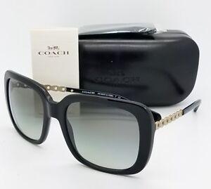 8dddcf61fd8 New Coach sunglasses HC8237 500211 57mm Black Gold Gradient Chain ...