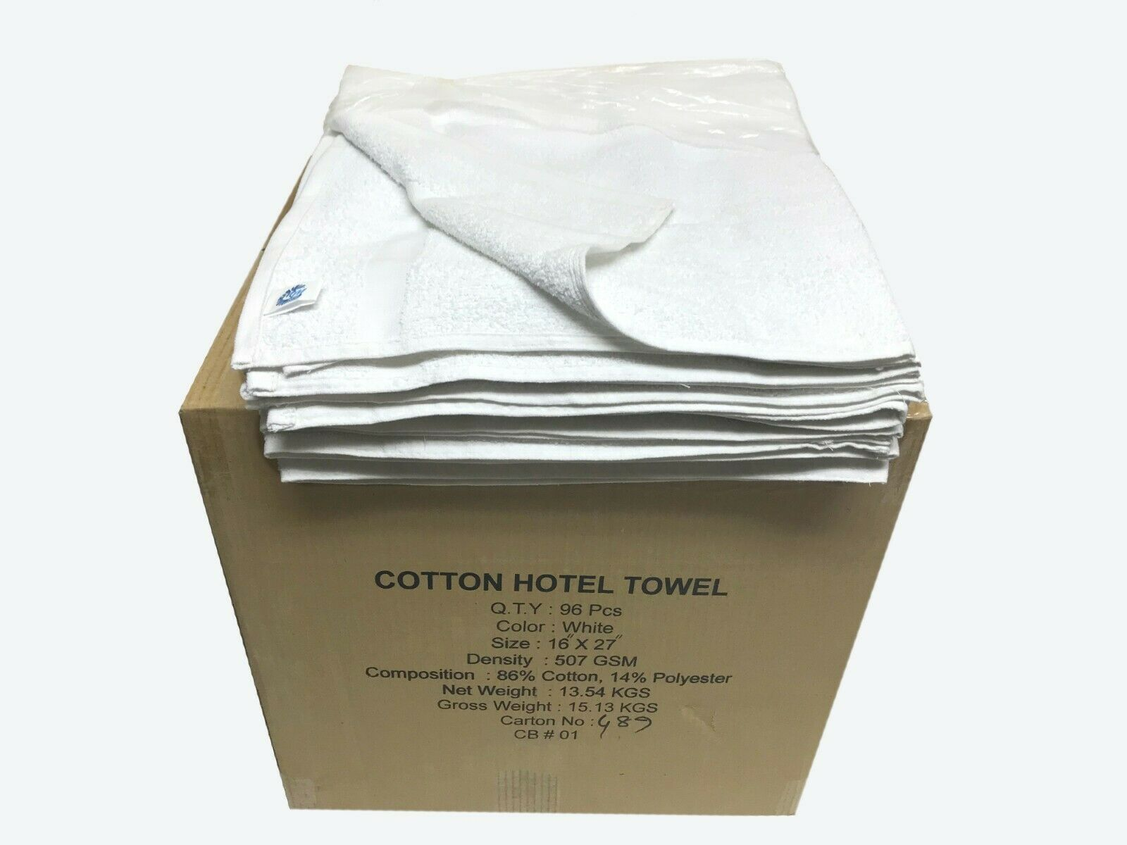 96 ct. Box 16 x27  Cotton Terry Towel, Professional, 507GSM