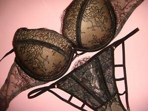 9a462ecaa25db Details about Victoria's Secret 32DD BRA SET S strappy cutout panty beige  Black chantilly lace