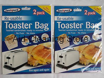 2x Neuf Réutilisable Toasterbags Toast Croque-Monsieur Grille-Pain Sacs Poches