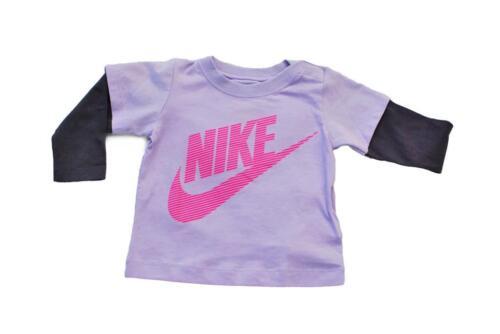 Babys NIKE Neonato Unisex T-Shirt con Maniche 618185 521-Viola Lilla Rosa T